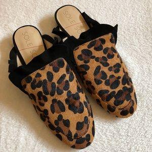 Sole society cheetah mules slip on shoe calf skin